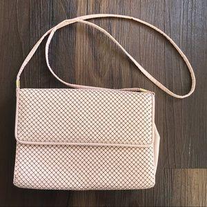 Whiting & Davis pink gold crossbody clutch bag